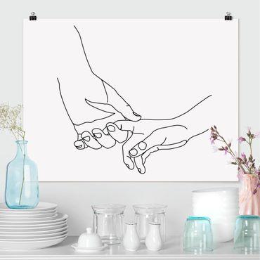 Poster - Zärtliche Hände Line Art - Querformat 3:4