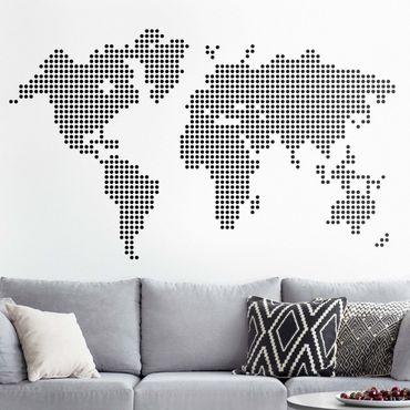 Wandtattoo - Weltkarte Punkte