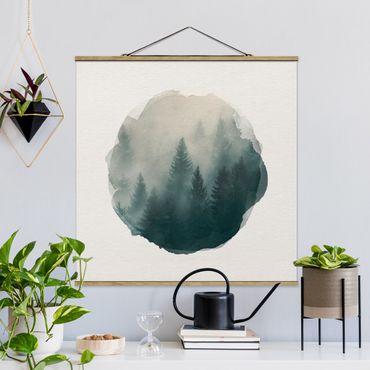 Stoffbild mit Posterleisten - Wasserfarben - Nadelwald im Nebel - Quadrat 1:1