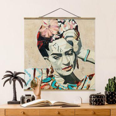 Stoffbild mit Posterleisten - Frida Kahlo - Collage No.1 - Quadrat 1:1