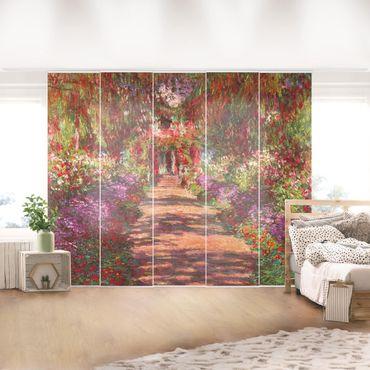 Schiebegardinen Set - Claude Monet - Weg in Monets Garten in Giverny - 5 Flächenvorhänge
