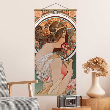 Stoffbild mit Posterleisten - Alfons Mucha - Schlüsselblume - Hochformat 1:2