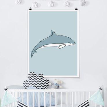 Poster - Delfin Line Art - Hochformat 4:3