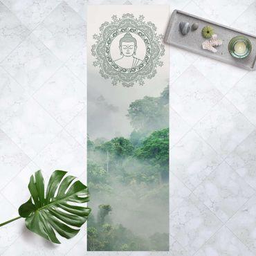 Vinyl-Teppich - Buddha Mandala im Nebel - Panorama Hoch 1:3