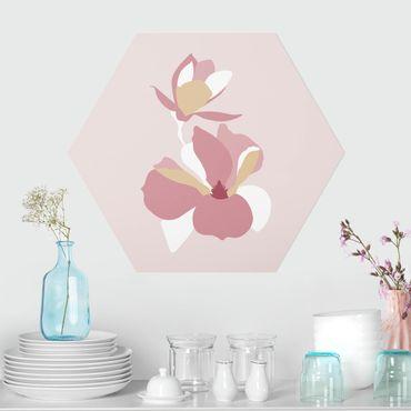 Hexagon Bild Forex - Line Art Blüten Pastell Rosa