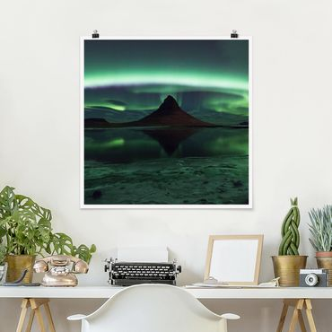 Poster - Polarlicht in Island - Quadrat 1:1