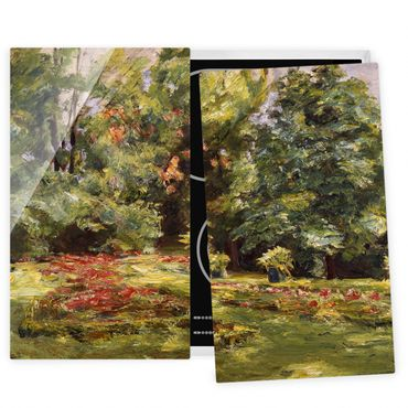 Herdabdeckplatte Glas - Max Liebermann - Blumenterrasse im Wannseegarten - 52x60cm