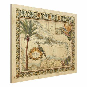 Holzbild - Vintage Tropische Landkarte West Indien - Querformat 3:4