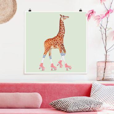Poster - Jonas Loose - Giraffe mit Rollschuhen - Quadrat 1:1