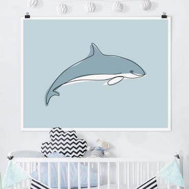 Poster - Delfin Line Art - Querformat 3:4
