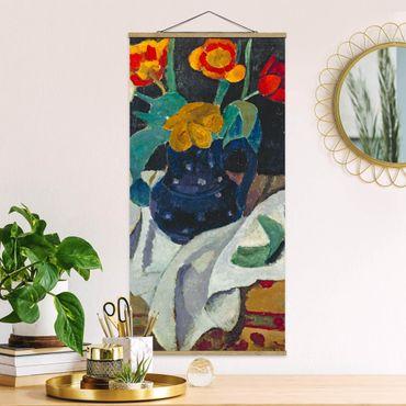 Stoffbild mit Posterleisten - Paula Modersohn-Becker - Stillleben mit Tulpen - Hochformat 1:2