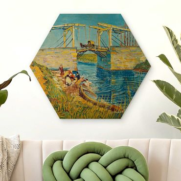 Hexagon Bild Holz - Vincent van Gogh - Zugbrücke in Arles