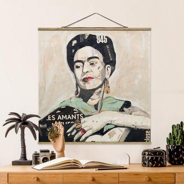 Stoffbild mit Posterleisten - Frida Kahlo - Collage No.4 - Quadrat 1:1