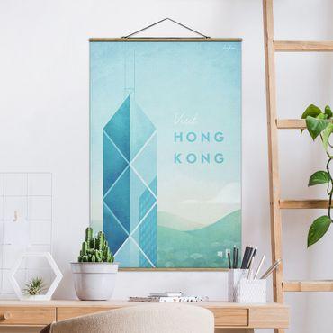Stoffbild mit Posterleisten - Reiseposter - Hong Kong - Hochformat 3:2