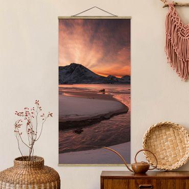 Stoffbild mit Posterleisten - Goldener Sonnenuntergang - Hochformat 2:1