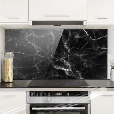 Spritzschutz Glas - Nero Carrara - Querformat - 2:1