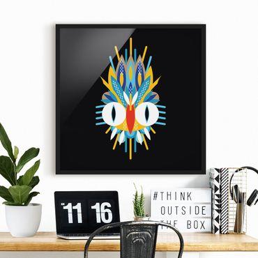 Bild mit Rahmen - Collage Ethno Maske - Vogel Federn - Quadrat 1:1