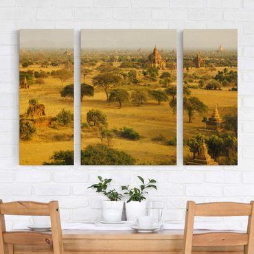 Leinwandbild 3-teilig - Bagan in Myanmar - Triptychon