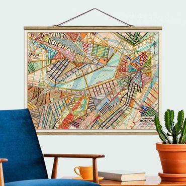 Stoffbild mit Posterleisten - Moderne Karte von Boston - Querformat 3:4