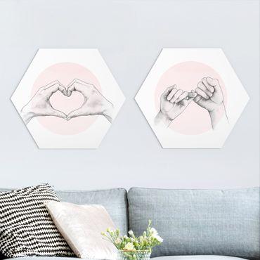 Hexagon Bild Forex 2-teilig - Laura Graves - Handzeichnungen auf Rosa