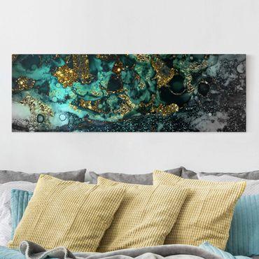 Leinwandbild - Goldene Meeres-Inseln Abstrakt - Panorama 1:3