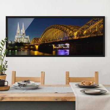 Bild mit Rahmen - Köln bei Nacht - Panorama Querformat
