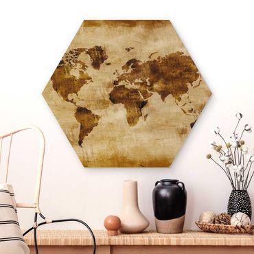 Hexagon Bild Holz - No.CG75 Map of the World