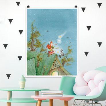 Poster - Frida und Kater Pumpernickel lassen die Sterne frei - Hochformat 3:4