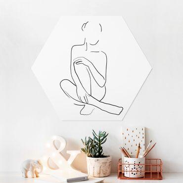 Hexagon Bild Forex - Line Art Frau sitzt Schwarz Weiß