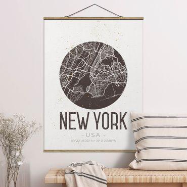 Stoffbild mit Posterleisten - Stadtplan New York - Retro - Hochformat 4:3