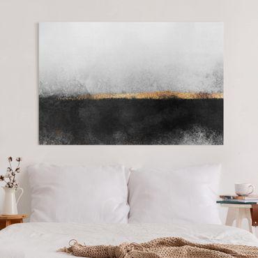 Leinwandbild - Abstrakter Goldener Horizont Schwarz Weiß - Querformat 2:3