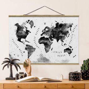 Stoffbild mit Posterleisten - Weltkarte Aquarell schwarz - Querformat 2:3