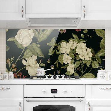 Spritzschutz Glas - Gartenblumen auf Schwarz I - Querformat - 2:1