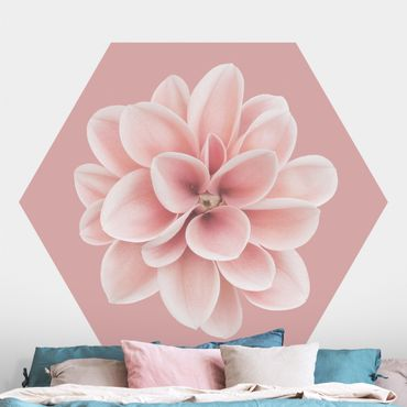 Hexagon Mustertapete selbstklebend - Dahlie auf Blush Rosa