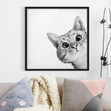 Bild mit Rahmen - Illustration Katze Zeichnung Schwarz Weiß - Quadrat 1:1