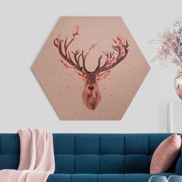 Hexagon Bild Alu-Dibond - Jonas Loose - Hirsch mit Kirschblüten