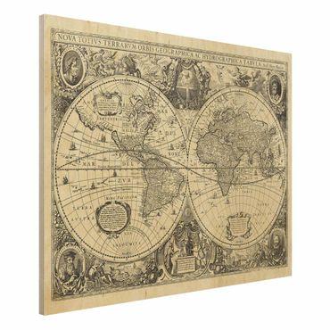 Holzbild - Vintage Weltkarte Antike Illustration - Querformat 3:4