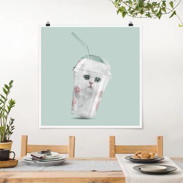 Poster - Jonas Loose - Shake mit Katze - Quadrat 1:1