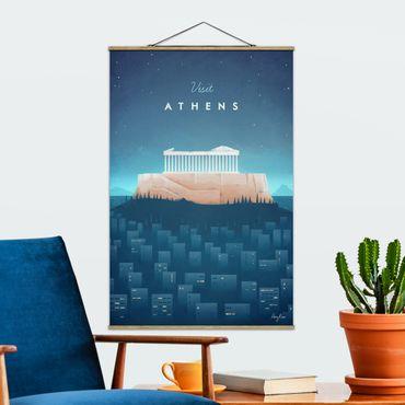 Stoffbild mit Posterleisten - Reiseposter - Athen - Hochformat 3:2