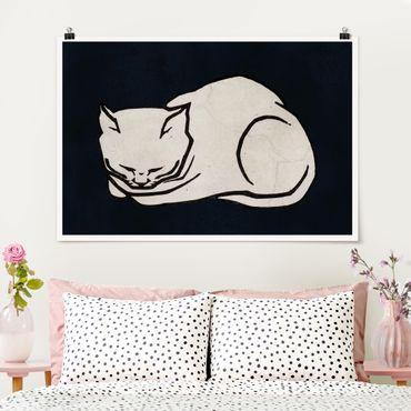 Poster - Schlafende Katze Illustration - Querformat 2:3