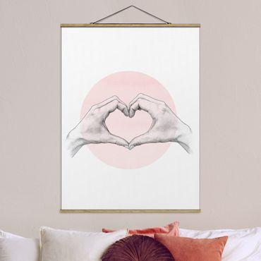 Stoffbild mit Posterleisten - Laura Graves - Illustration Herz Hände Kreis Rosa Weiß - Hochformat 4:3