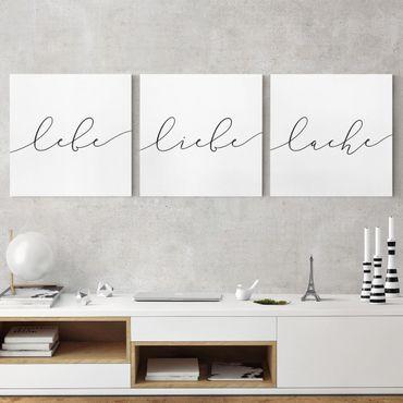 Leinwandbild 3-teilig - Lebe Liebe Lache Kalligraphie - Quadrate 1:1