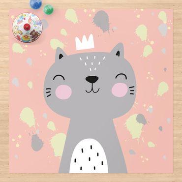 Vinyl-Teppich - Freche Katze - Quadrat 1:1