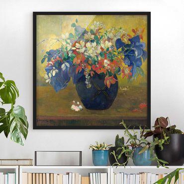 Bild mit Rahmen - Paul Gauguin - Vase mit Blumen - Quadrat 1:1