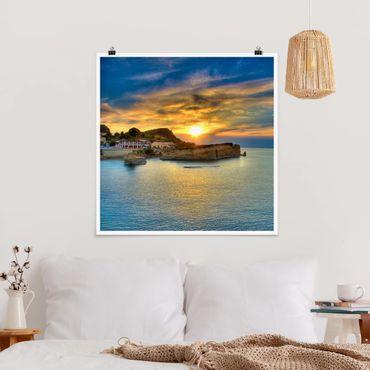 Poster - Sonnenuntergang über Korfu - Quadrat 1:1