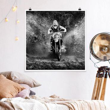 Poster - Motocross im Schlamm - Quadrat 1:1