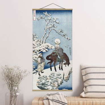 Stoffbild mit Posterleisten - Katsushika Hokusai - Der chinesische Dichter - Hochformat 1:2