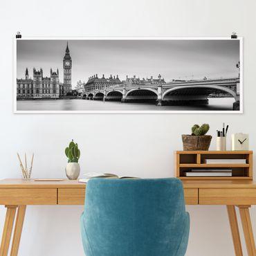 Poster - Westminster Brücke und Big Ben - Panorama Querformat