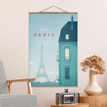 Stoffbild mit Posterleisten - Reiseposter - Paris - Hochformat 3:2