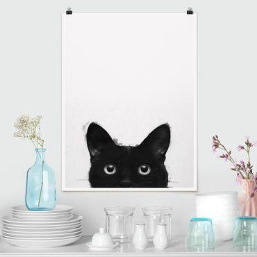 Poster - Illustration Schwarze Katze auf Weiß Malerei - Hochformat 4:3